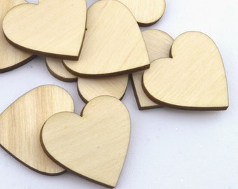 100 Laser cut wooden hearts 1.5 x 1.5 Inches - Made to order