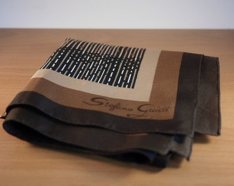 Vintage Brown, Beige and White Stefano Guidi Scarf from the 1970's