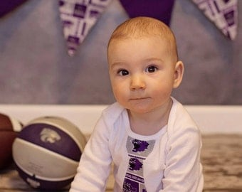 Baby Tie Snap Bodysuit with K-State fabric