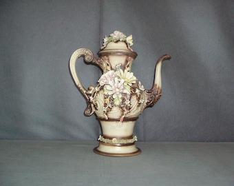 Popular items for fiore in rilievo on etsy for Vaso capodimonte