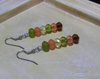 Green, Orange & Amber Dangle Ear Rings