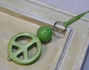 Green Peace Sign Cotton Cord Necklace