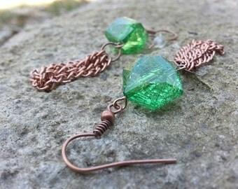 Earrings - Grassy Green Gem and Tassled Copper