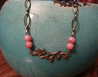 Necklace - Dogwood Branch & Antiqued Gold Mixed Chain Links