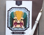 Tiki Predator Inspired Ornament / Greeting Card - Papercraft - Cut-out - Hand made - Fan Art - 80's Movie Monsters - Green Yellow Brown