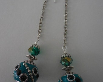 Teal Ball Earrings