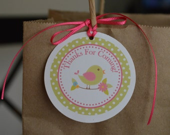 Little Birdie Baby Shower Favor Tags- Set of 12