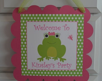 Frog Theme Door Sign - Pink and Green - Frog Birthday Sign - Frog Party Sign - Froggy Birthday