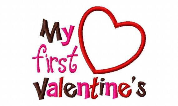 My First Valentines Day Heart Applique Machine Embroidery Design 4x4 and 5x7