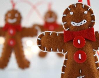 Set of 3 wool felt gingerbread men Christmas ornaments