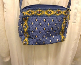 Clearance Sale // Mothers Day Sale // Vintage Vera Bradley small blue and yellow multicolor handbag