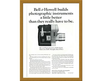 """1964 Bell and Howell B&W Original Print AD / ...builds photographic instruments a little better / 6"""" x 9"""" / Buy 2 ads Get 1 FREE"""