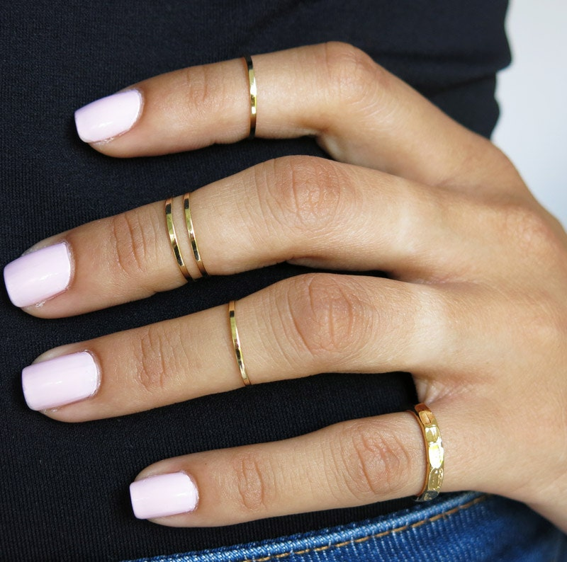 set of 5 gold knuckle rings pinky ring stacking rings by TopStar