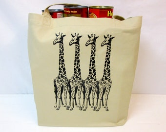 100% Organic Cotton Tote Bag, 4 Giraffes on a Tote Bag, Screen Printed Tote Bag, Giraffe, Grocery Bag, Organic Cotton