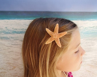 Sugar Starfish Hairclip - Natural, Silver or Gold - Sugar Beach Wedding Alligator Hair Clip - Flower girl flowergirl Barrette Pin Mermaid