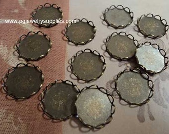 11mm round closed back lace edge cup settings plated in brass ox cameos cabochons 12 pc lot  1