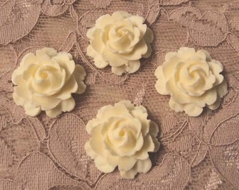 22mm ivory cream roses flowers flatback cabochons 4 pc lot