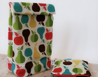 Lunch sack, snackbag, apples and pears, reusable pouch set, food storage bag