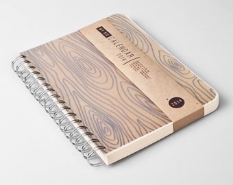 Planner 2016 October - 2017 October. Weekly Life Calendar Diary Day Agenda Journal A5 Wood Rustic Kalender Calendrier - Dated or Undated