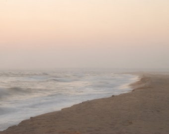 Beach, Sand, Ocean Subtle Sunset in Fog, Dreamy and Serene