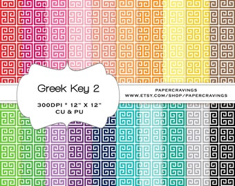 """Greek Key Digital Paper Pack 12"""" x 12"""" Commercial and Personal Use rainbow - printable 20 sheets pinstripes INSTANT DOWNLOAD"""