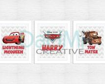 Personalised Print Set - Disney Cars 2 Art Print - Nursery Art - Nursery Decor - Bedroom Art - Bedroom Decor