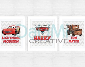 Personalised Print Set - Disney Cars 2 Art Print - Nursery Art - Nursery Decor - Bedroom Art - Bedroom Decor