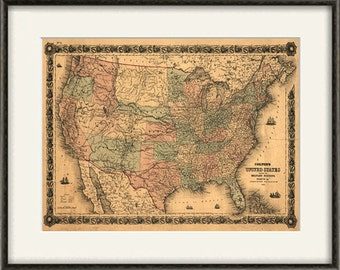 Europe Map Print Map Vintage Old Maps Antique Prints Poster - Usa large wall map