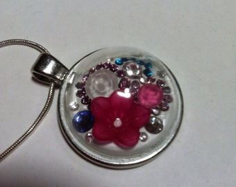Necklace with domed ceralun and Swarovski crystals various