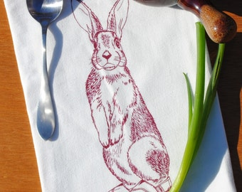 Screen Printed Organic Cotton Kitchen Tea Towel - Burgundy Rabbit - Hand Printed Organic Tea Towel - Perfect House Warming Gift