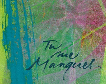 "Calligraphed postcard ""i miss you"" ... with the french touch !"