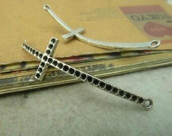 6PCS -   Antique Silver sideways cross charm connector  15 x 86mm - No.C4998
