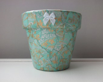 Decorative Plant Pot Hand Covered In Beautiful Blue And
