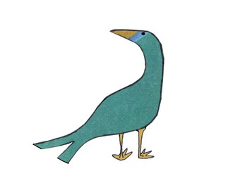 THOUGHTFUL BIRD. A pleasingly simple card with a single seagreen bird having a ponder .Printed card from collage original.