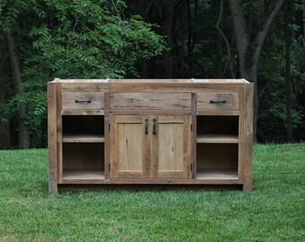 """Rustic Vanity (60"""") - Reclaimed Barn Wood w/Paneled Doors #6487"""