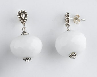 Faceted White Agate and Sterling Silver Earrings