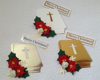 3 Handmade floral Bible Card toppers for christmas cards - assembled ready to use!