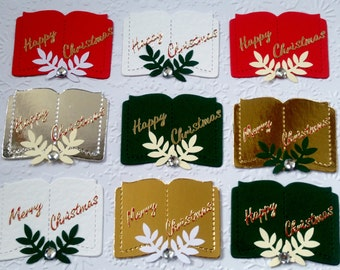 10 Handmade Festive Merry Christmas Religious Open Book Bible Card Toppers for Card Making Scrapbooking Craft Project