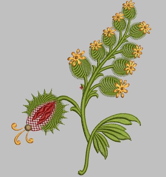 Elizabethan pomegranate flowers machine embroidery