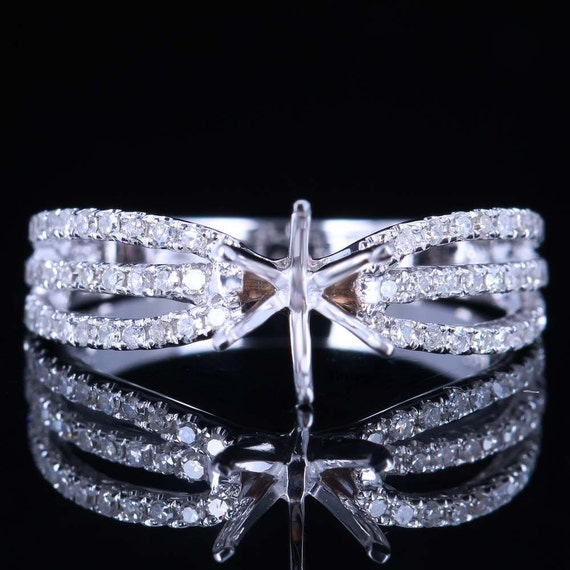 Triple Split Shank Diamond Gold Engagement Ring