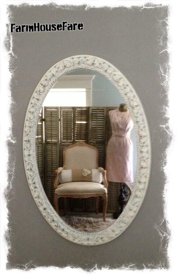 Baroque ornate oval large wall mirror bathroom by farmhousefare for How to frame an oval bathroom mirror