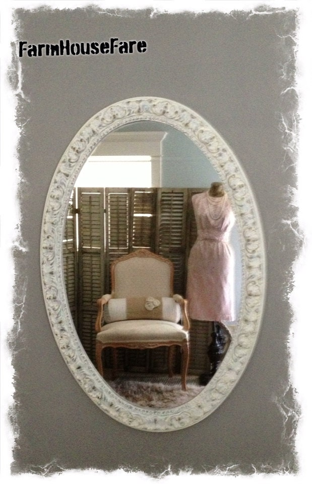 Large Wall Mirror Ornate Oval Bathroom Mirror White Nursery