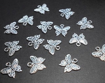 15 Butterfly Charms, Antique Silver Butterfly Charms, Nature Charms, Butterfly Pendant, Small Butterfly Charm, Silver Butterfly Charm SC0057