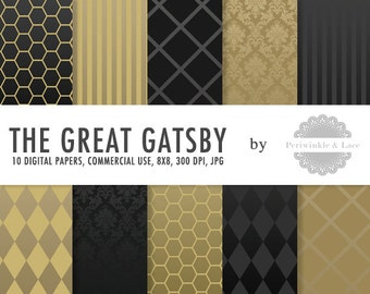 The Great Gatsby Black and Gold Shine Digital Paper - Commercial Use - Instant Download