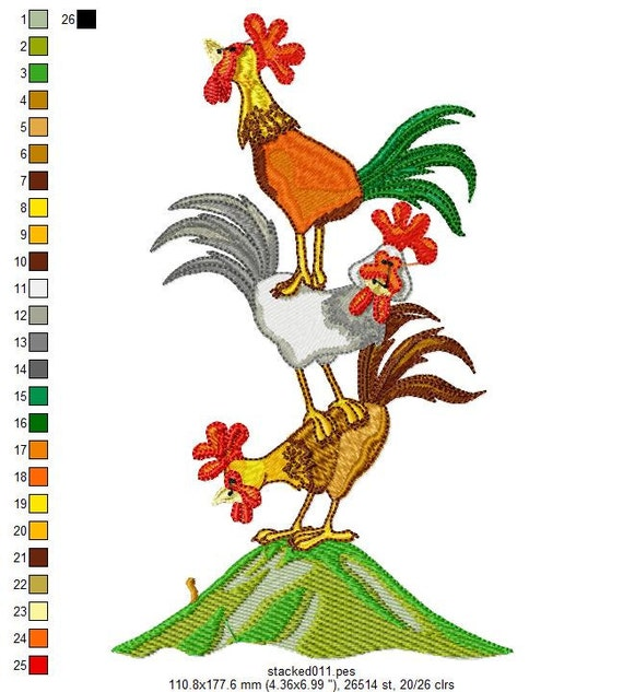 Stacked Animals Machine Embroidery Designs - PES format