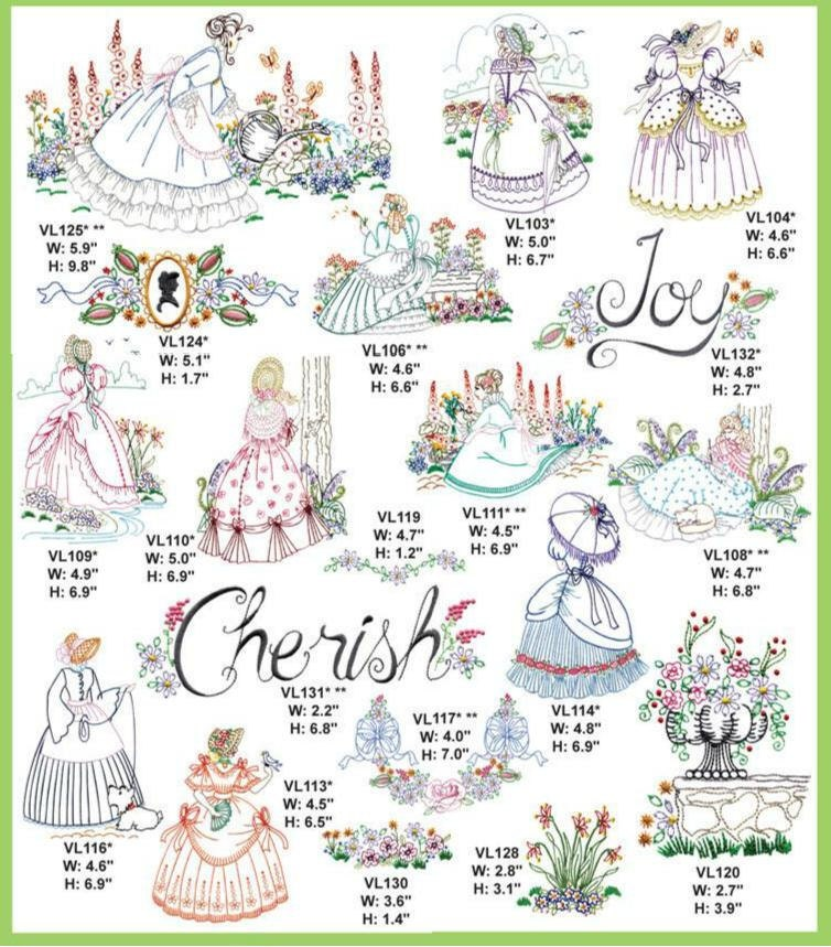 Stroll in the garden embroidery designs pes 35 by for Garden embroidery designs