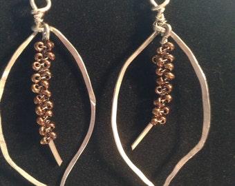 Wire & Bead Leaf Dangle Earrings
