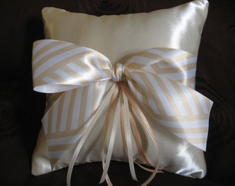 Ring Bearer Pillow in Cream Taffeta.  Wedding Item, Ribbon Trim customized for the Bride. Ready to use.