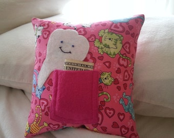 Pink Kitten Tooth Fairy Pillow. Embroidered Tooth. Applique. Handmade. Cotton. Pocket. Cuddly. Girl. Finished Pillow