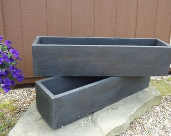Dark distressed outdoor planter boxes/window planter/flower box/table trough/Cedar window planter/Wood planter box